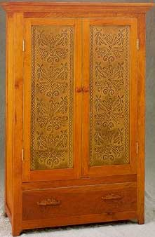 Large Cherry Armoire Featuring Punched Tin Panel Rp 1249 Fleur Jardin